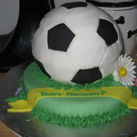 Soccer Ball Birthday Cake This was for my cousin's 11th birthday. Chocolate cake with white chocolate buttercream and covered in fondant. This cake was super...