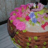 Birthday Cake For Lady This was for an 80 yr lady birthday, the client wanted something just pretty. Thought a basket of flowers would be the right thing. 3...