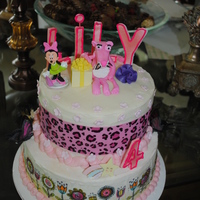 Birthday Cake For 4Yr Old Who Wanted The Pink Panther 2 tier round covered with b/c inside and out and the pink panther made by gum paste I used the luck's edible prints both top and...