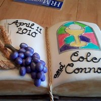 First Communion Bible For twin boys' First Communion. Covered in white chocolate fondant. Wheat is made of fondant w/tylose and angel hair pasta; grapes are...