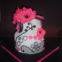Black And White With Pink Flowers First time I've done piping in a long time...it was fun! Lace piping inspired by a number of cakes on CC. Cake was lemon with lemon...