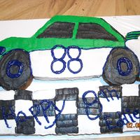 Race Car Puzzle Cake made this quicky for Eddie's birthday. Not too good, but he loved it.
