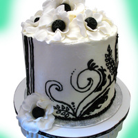 Black And White Fantasy Flower Shower Cake