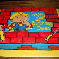 Bob The Builder white cake. Bob is FBCT. Bricks are fondant. Thanks to KathleenR for inspiration.