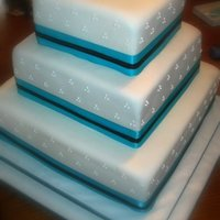 Alicia Bottom and top layer is white cake with buttercream icing. Middle tier is dark chocolate with chocolate buttercream icing. Covered in...