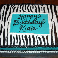 Katie half chocolate, half white zebra and turquoise