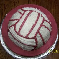 Volleyball Cake This cake was for my daughter's end of the season party. Their colors are pink & white. I used the soccer ball pan and did the...