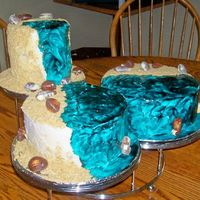 Beach Cake I made this cake for my sister, who loves the beach. BC icing with graham cracker crumbs. The water is tinted piping gel.