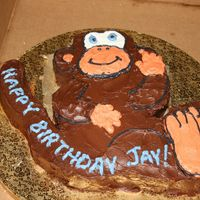 Monkey   This is a chocolate cake, with chocolate bc. It was carved and all done freehand. It was my first time doing a carved cake!