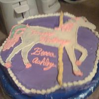 Horse   horse is a candy plaque- first attempt at it. rest is bc - white cake.