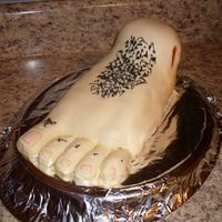 Sons Foot   My son had foot surgery so I made his Dr this foot cake..