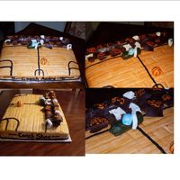 Basketball Court  This was a really fun cake to do. This is a half sheet marble cake, buttercream frosting and MMF. I made the bleachers out of Hersheys...