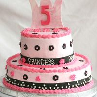 5Th Birthday Princess Cake I did this cake for my friend whose daughter just turned 5. Her request was a pink princess cake with a crown. So, this is what I came up...