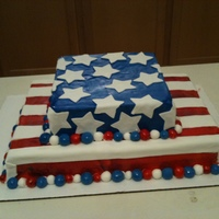 4Th Of July Cake   Chocolate cake with bavarian creme and marshmallow fondant