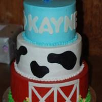 Farmer Kayne's 1St! Top tier: Chocolate with chocolate filling.Middle tier: Vanilla with vanilla filling.Bottom tier: More Chocolate with chocolate filling....