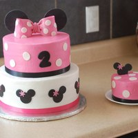 Minnie Mouse 2Nd Birthday  Minnie Mouse 2nd birthday cake!This cake is top tier: Vanilla cake with vanilla buttercream filling.Bottom tier: Chocolate cake with...