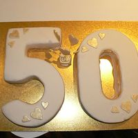 50Th Wedding Anniversary   My 2nd paid for cake for a 50th Wedding anniversary, i was very scared about doing the numbers but am happy with how they turned out!