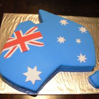 "Australia Cake An aussie cake for a friend who is going overseas, ""home is where the heart is"""