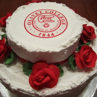 Graduation Cake College graduation cake for a friend. Filled cake with whipping cream and strawberries. I used a decal for the emblem. Used recipes from CC...