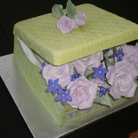 Designer Sugar Box Sugar Cake Box, Sugar Roses & fillers. Chocolate cake with chocolate ganache filling.
