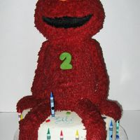 "Elmo Cake Made this for my daughter's 2nd Birthday! Was so much fun and she LOVED it! Kept saying ""HAHA! Elmo sit on cake!"" hehe...."