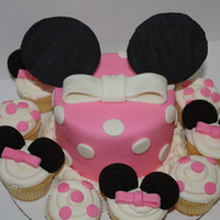 "Mickey Mouse Cake This was for a 2 year old's Birthday. MMF accents and Oreo cookie ""ears"" on the cuppies."