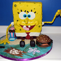 Sponge Bob For a three year old birthday. HUGE cake, around 150 servings in sponge bob alone. MMF covering and accents. This was fun! :)