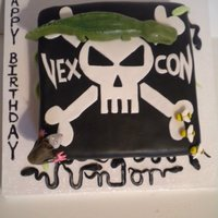"Vexcon! Vexcon cake requested by a 3 year old.. who also wanted ""a gator. a 'possum, & some bees!... oh, and SNAKES!"" He then..."