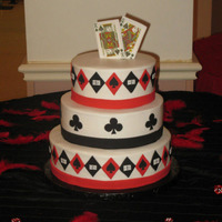 Vegas Wedding   My friend wanted a vegas themed cake. We designed this. all BC with fondant accents. Dice were hand panted. TFL