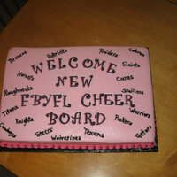 Meeting Cake This is just a half sheet cake with strawberry buttercream and fondant letters. TFL