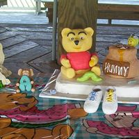Pooh & Piglet Babyshower Cake Made for BabyShower.. The first time I have ever molded anything.. I used RKT for all items except the cake.. White cake with Homemade...