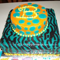 "Zebra Print And Dots   This cake was for a friend. She wanted turquoise with zebra print, orange with turquoise dots and yellow ""B"" on top."