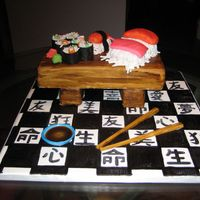 Sushi Cake  Sushi cake is completely edible. The table and legs are cake covered with fondant. The large pieces of sushi are also cake covered in...