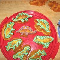 Dinosaur Cakes We got this cool pan that makes cakes in the shape of dinosaurs! Then I made buttercream icing and we piped it around the parts of the...