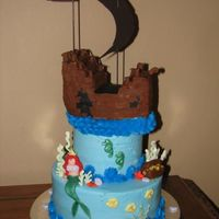 "Pirate Ship And Mermaid  10"", 6"", loaf pan. BC icing, fondant covered ship, fondant mermaid & accents. Chocolate seaweed. Made for a brother &..."