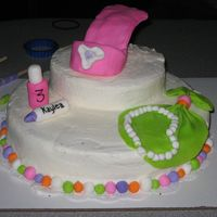 Kaylea's Birthday Cake 1-10 and 1-6. Chocolate Cake with All Buttercream Frosting. Fondant accents. Nail polish, lipstick, hankie w/ pearl necklace and High Heel...