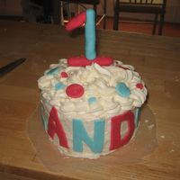 Landon's Smash Cake 2-6's. White cake with all Butter Buttercream. Fondant accents and fondant 1