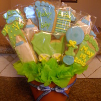 Baby Boy Cookie Bouquet This is a cookie bouquet I made for my sis in law who just had her baby boy. The cookies are NFSC with Antonia's Royal icing. A lot of...