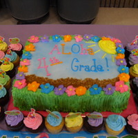 Aloha 4Th Grade Cake I made this cake for a end of year party for our 4th grade students. It was a Luah themed party. The center cake was a vanilla with tropic...