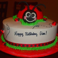 Ladybug Cake I made this cake for my neice. The ladybug was made with the wilton ball pan. The head was RKT covered in fondant. Inspiration ALL from...