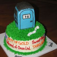 "Port A Potty Cake  8"" Round with Rice Krispy Treat Port A Potty covered in BC. Port A Potty Company names around sides of cake. Made for a man with a..."