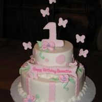 "Pink Flowers & Butterflies   10"" & 6"" BC Icing with Fondant Accents"