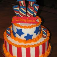 "4Th Of July  10"" & 6"" round, BC icing. Stripes, stars & banner are fondant. Rockets and fire crackers are chocolate tranfers. Happy..."