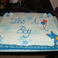 My First Baby Shower Cake i did this cake for my niece its a yellow cake with buttercream icing