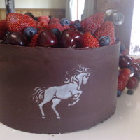 Chiffon Cheesecake Wrapped In Chocolate  This is a chiffon cheesecake wrapped in chocolate and topped with cream and mixed berries. The horses were stencilled on in white chocolate...