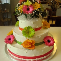 75Th Birthday fresh daisies & roses...top layer pineapple filling, middle layer is almond cake & bottom cake is butter cake