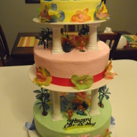 Luau Cake all buttercream luau cake.. chocolate , strawberry & banana
