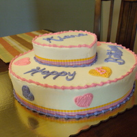 Heart Birthday Cake cake done for a lil girl that mentioned she wanted a pink,puple & orange heart cake!