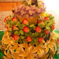 Princess And The Frog Yellow, Purple, and Green Buttercream under each layer of handmade flowers