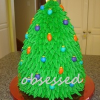 3D Christmas Tree all buttercream with fondant ornaments